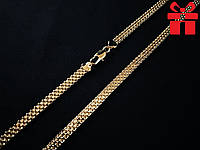 """🔥✅Цепочка """"Бисмарк якорный двойной"""" толстая 50 см *  6 мм. Позолота 18К Xuping, медицинское золото"""