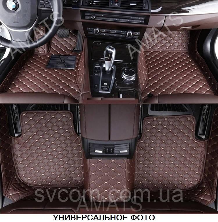 Коврики Audi Q7 из Экокожи 3D (2005-2015) Кофейные