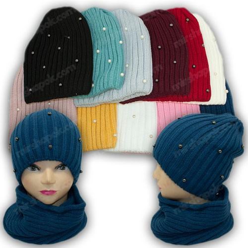 Комплект шапка и хомут с бусинками для девочки, р. 50-52
