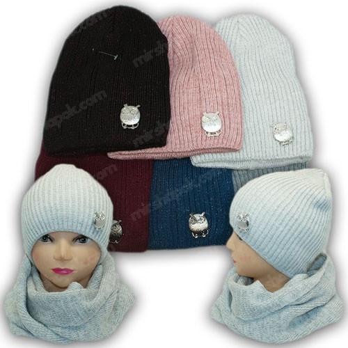 Комплект шапка и хомут с брошкой для девочки, р. 50-52