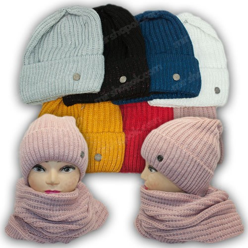 Комплект шапка и хомут с ниткой люрекс для девочки, р. 52-54