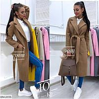 Стильное пальто на осень коричневого цвета 42-44 р-р.
