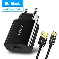 Зарядное устройство UGREEN Black 18 вт QC Qualcomm 3.0 Быстрая зарядка + оригинальный кабель UGREEN USB Type-C