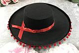 Шляпа сомбреро Испания с бубенчиками детская 52 - 54 см, фото 2
