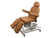 Педикюрное кресло кушетка косметологическая на электроуправлении 3706 (1 мотор) Светло-коричневый