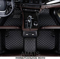 Коврики PorschePanamera из Экокожи 3D (2013+) Чёрные