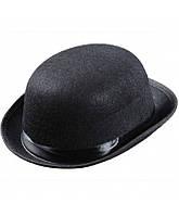 Шляпа котелок взрослая черная, фото 1