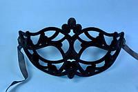 Маска карнавальная бархатная ажурная с вырезами(упаковка по 12 шт.)