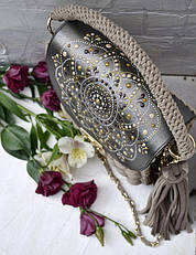 Карамельная сумочка-зефирка с расписным клапаном от Оксаны @valissa.handmade 2