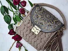 Карамельная сумочка-зефирка с расписным клапаном от Оксаны @valissa.handmade 3