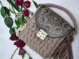 Карамельная сумочка-зефирка с расписным клапаном от Оксаны @valissa.handmade -1