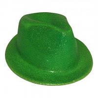 Шляпа твист карнавальная Федора зеленая, фото 1