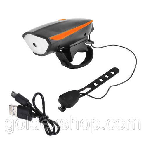 Велосипедный звонок + велофара 7588, ЗУ micro USB, встроенный аккумулятор, выносная кнопка
