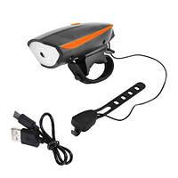 Велосипедный звонок + велофара 7588, ЗУ micro USB, встроенный аккумулятор, выносная кнопка, фото 1