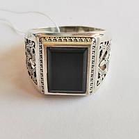 Перстень зі срібла з обсидіаном Стін, фото 1
