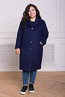 Прямое пальто из букле МИРИАМ фиолетовое #O/V