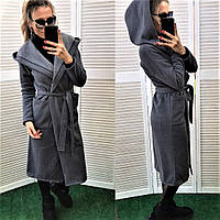 Теплый кардиган пальто с карманами + капюшон, фото 1
