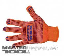 MasterTool  Перчатки х/б с ПВХ-точками 10 кл, 2 нити оранжевые, Арт.: 83-0300