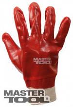 """MasterTool  Перчатки кислотостойкие, х/б трикотаж, полное ПВХ покрытие, вязаный манжет (красные),10,5"""",123-127 г, Арт.: 83-0501"""
