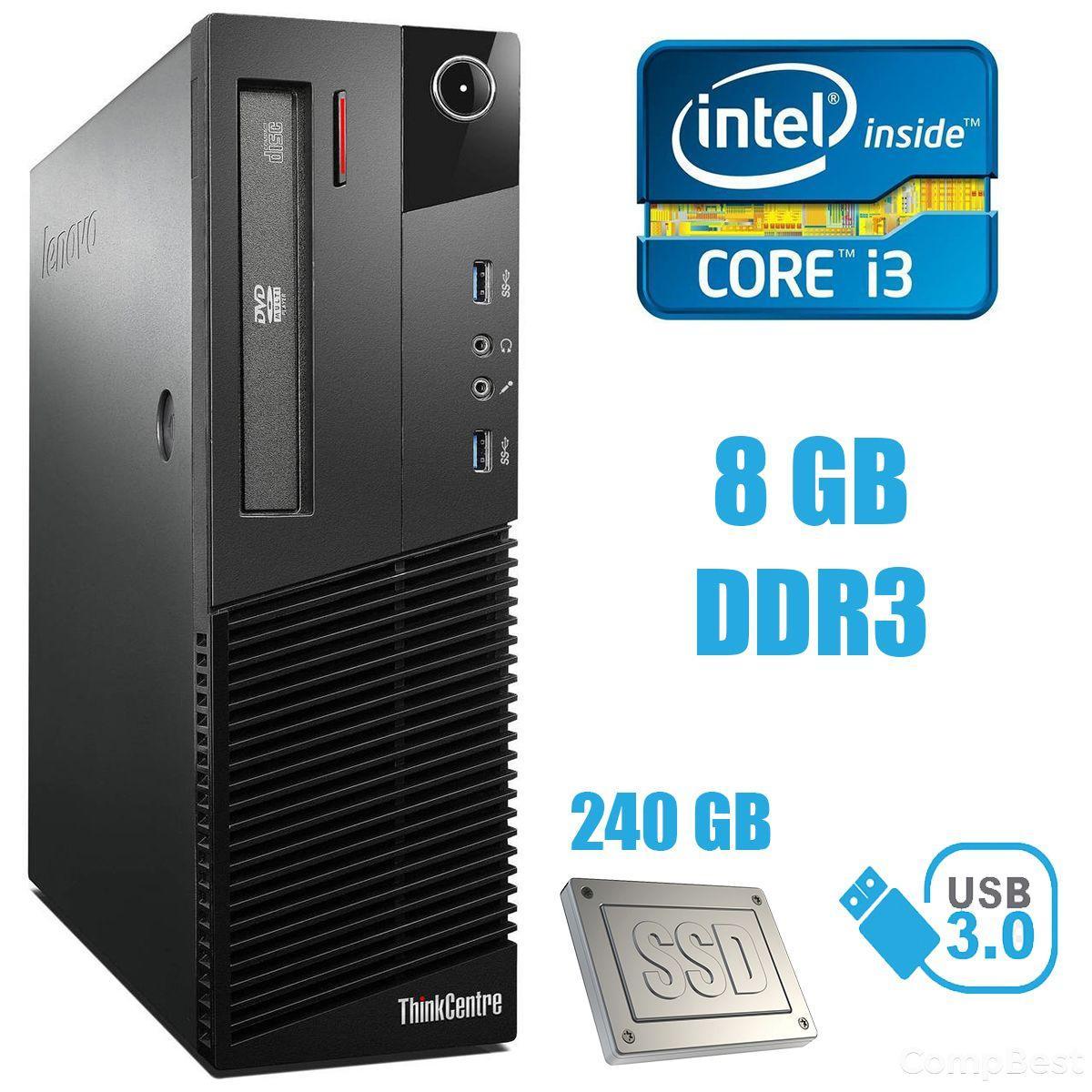 Lenovo M83 SFF / Intel Core i3-4130 (2(4) ядра по 3.4GHz) / 8GB DDR3 / 240 GB SSD / USB 3.0