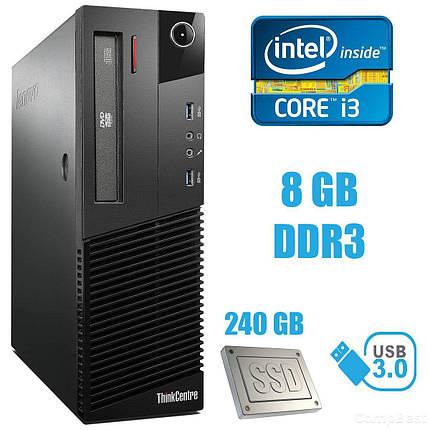 Lenovo M83 SFF / Intel Core i3-4130 (2(4) ядра по 3.4GHz) / 8GB DDR3 / 240 GB SSD / USB 3.0, фото 2