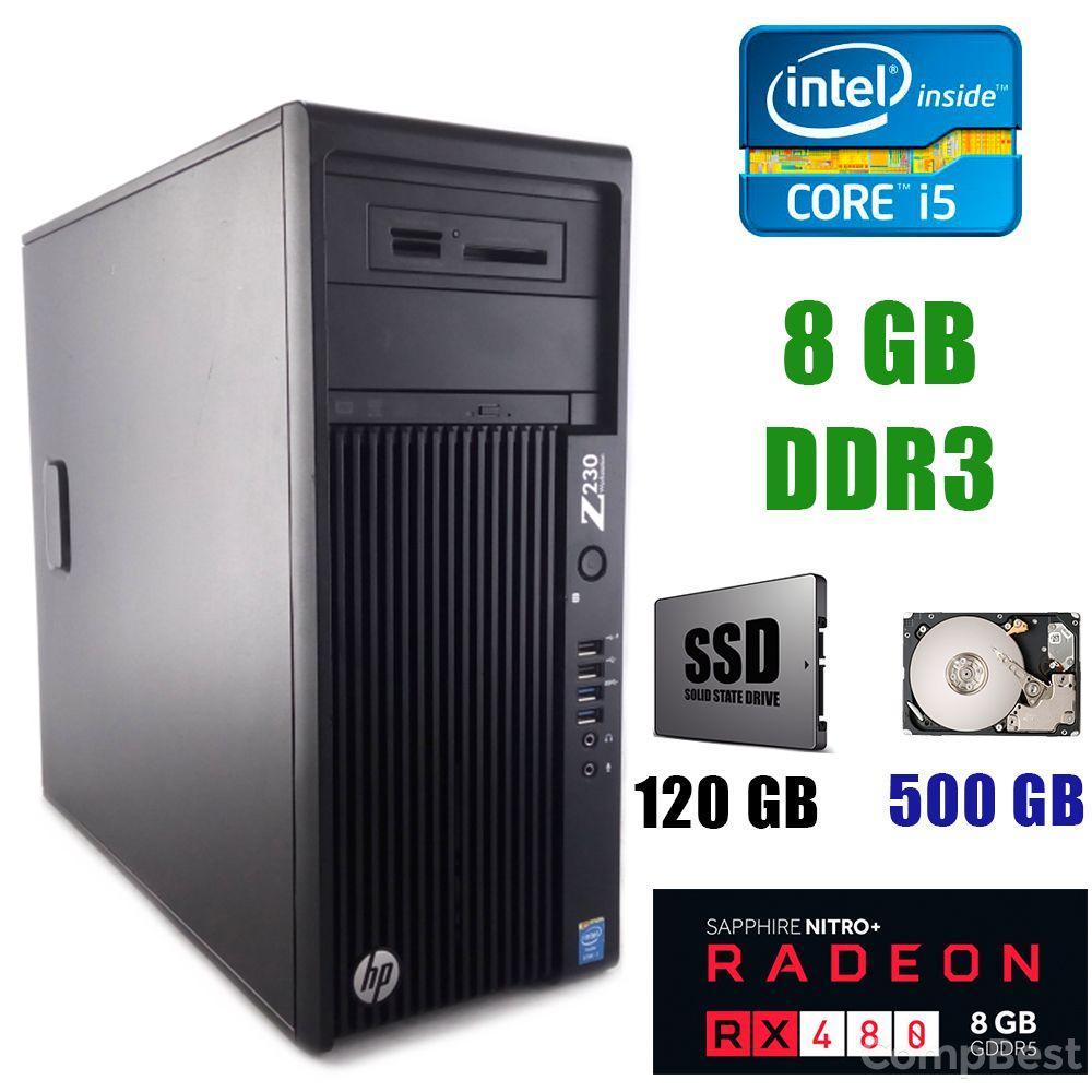 HP Z230 Tower / Intel Core i5-4440 (4 ядра по 3.10-3.30GHz) / 8GB DDR3 / 120 GB SSD+500 GB HDD / AMD Radeon RX 480 8GB GDDR5 256bit