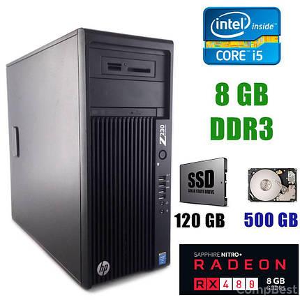 HP Z230 Tower / Intel Core i5-4440 (4 ядра по 3.10-3.30GHz) / 8GB DDR3 / 120 GB SSD+500 GB HDD / AMD Radeon RX 480 8GB GDDR5 256bit, фото 2