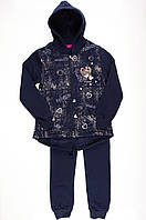 Утепленный спортивный костюм для девочки Венгрия темно-синий SJ-9126