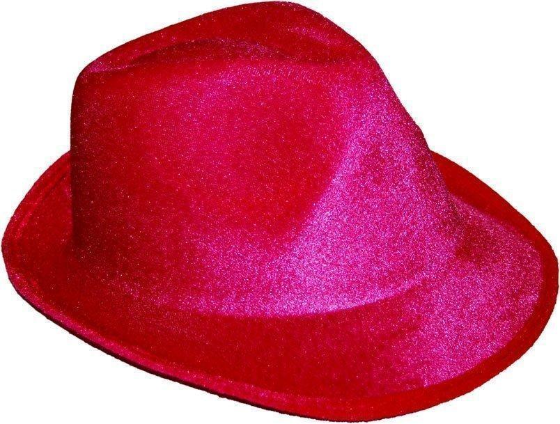 Шляпа твист карнавальная Федора малиновая