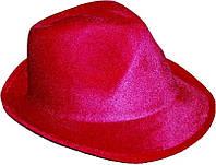Шляпа твист карнавальная Федора малиновая, фото 1