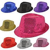 Шляпа Твист, шляпа диско с пайетками, ЗОЛОТО, СЕРЕБРО, ОРАНЖ, СИНИЙ, КРАСНЫЙ, ЗЕЛЕНЫЙ