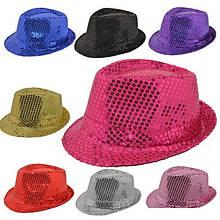 Шляпа Твист, шляпа диско с пайетками цвета в ассортименте