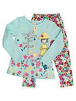 Комплект для девочки (реглан и лосины) Девочка бирюзовый 951