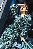 Платье макси из стрейч шифона с флористичным принтом 5547, 42