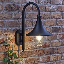 Настінний ліхтар вуличний Biard Florence, чорний, з безкоштовною 4W світлодіодною лампою розжарювання - IP44