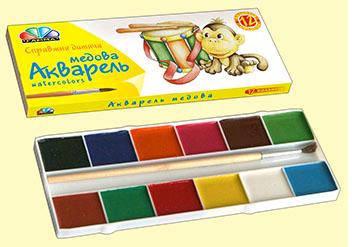 Акварель медова ГАММА Улюблені іграшки 12 кол.б/п. картон , фото 2