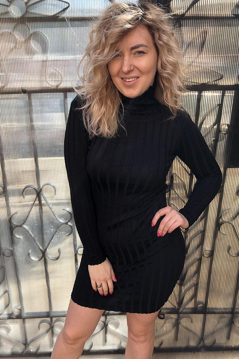 Короткое платье-водолазка трикотаж лапша LUREX - черный цвет, L (есть размеры)