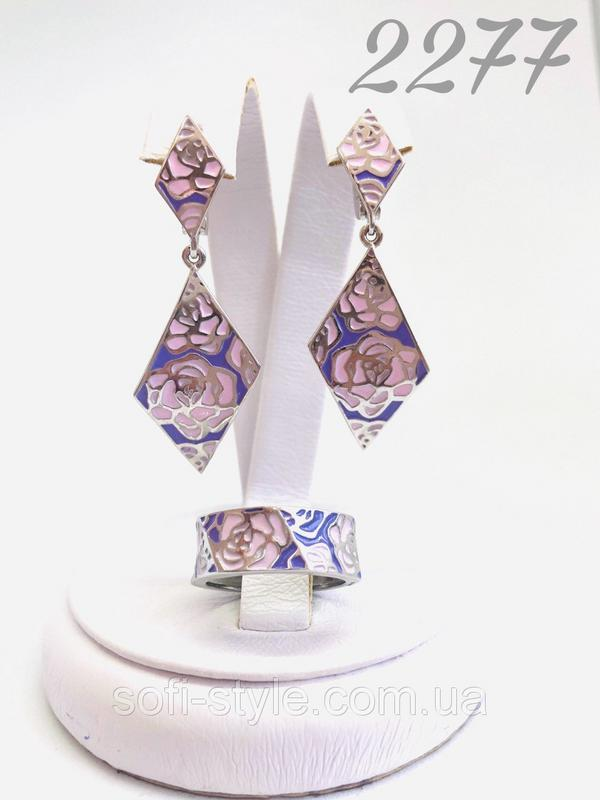 Гарнитур в серебре с розово-фиолетовой эмалью Роза