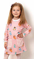 Платье трикотажное для девочки Mevis розовое 2541-02