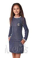 Трикотажное платье Mevis синее 2891-01