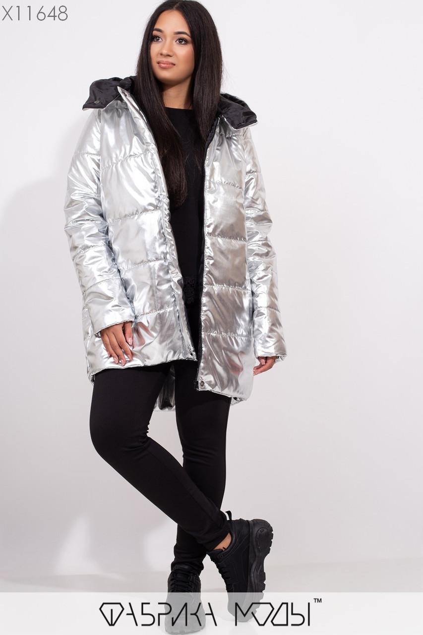Удлинененная куртка с капюшоном асимметричного кроя на молнии с прорезными карманами X11648