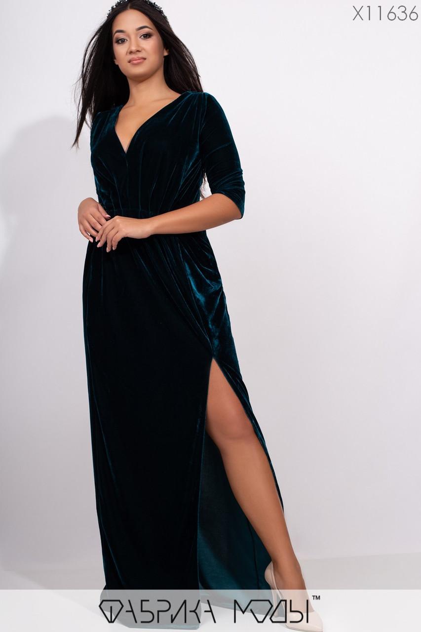 Платье в пол приталенное из бархата на запах с глубоким V-вырезом, зауженными рукавами 3/4 и высоким боковым разрезом X11636