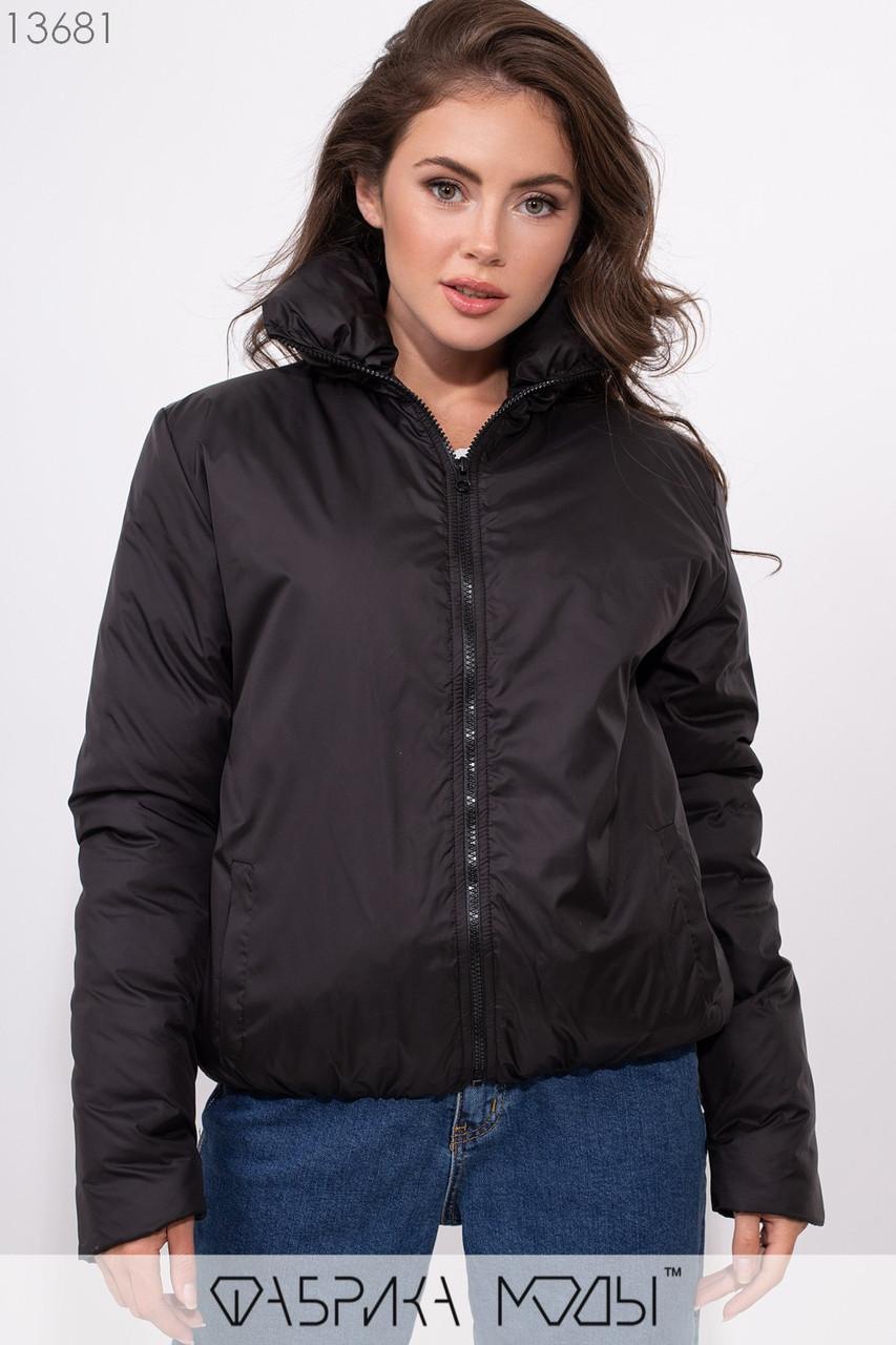 Объмная куртка на молнии с воротником стойка и резинкой по подолу 13681
