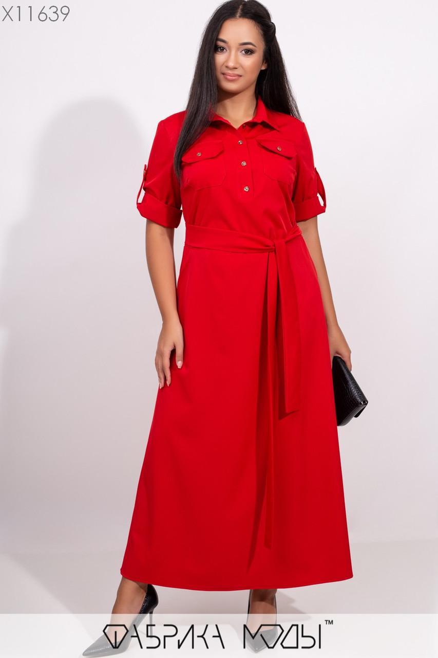 Платье макси кроя мини-трапеция с короткими рукавам на патиках, съемным поясом по отрезной талии и прорезными карманами X11639
