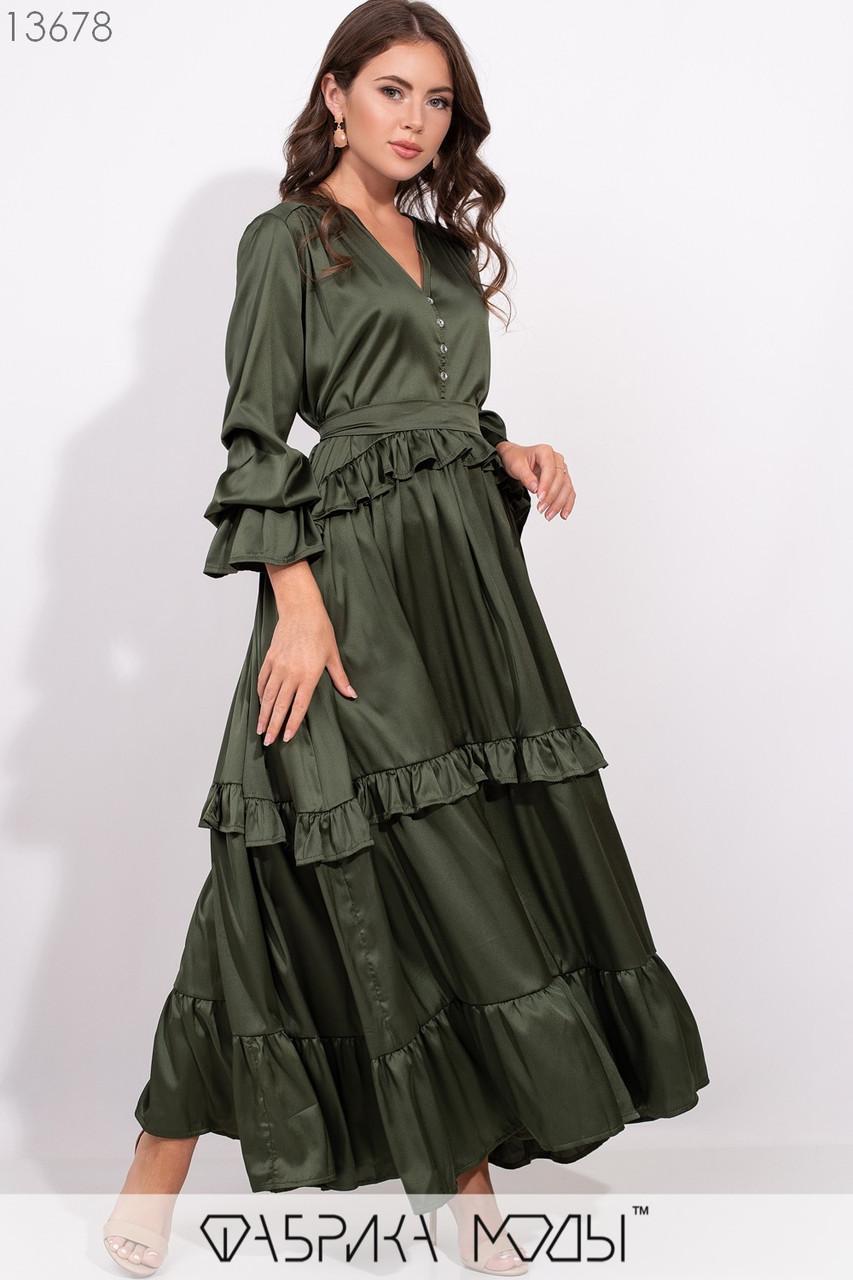 Платье широкого кроя с V-образным вырезом со съемным поясом по талии, декоривано воланами по подолу 13678