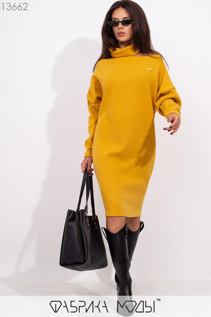 """Платье свободного кроя с вырезом Анжелика, съемным чокером и рукавами """"летучая мышь"""" 13662"""