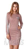 Трикотажное платье для девочки-подростка Mevis розовое 2998-02