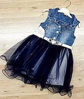 Джинсовый сарафан для девочки с пышной юбкой синий
