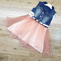 Джинсовый сарафан для девочки с пышной юбкой розовый