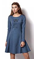 Трикотажное платье для девочки Mevis синее 2272-02
